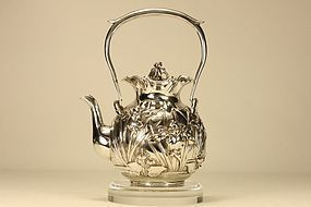 Japanese Silver Teapot w Irises Marked & Signed