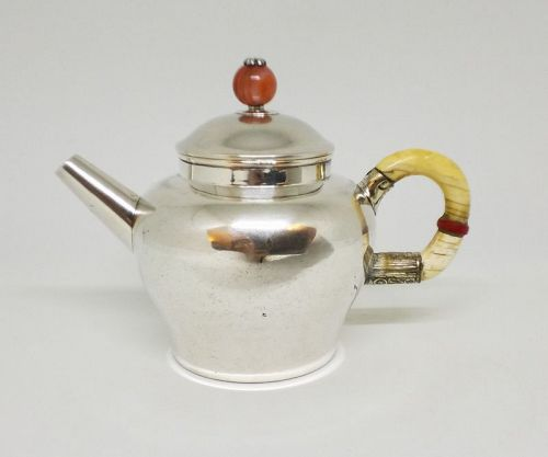 Chinese Silver Teapot w Gem Agate Stone