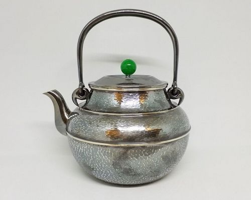Japanese Silver Teapot w Green Agate Lid Finial