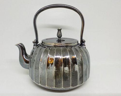 Japanese Silver Teapot w Greyish Tone Patina