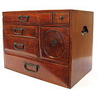 Antique Lacquer Japanese Ko Tansu, Small Box with Drawers Chest