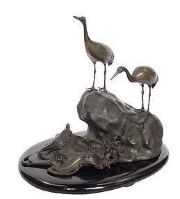 Vintage Japanese Bronze Crane and Turtle Okimono