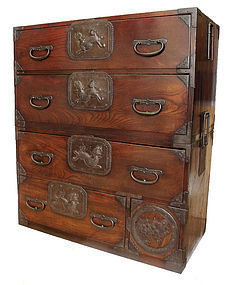 Antique Japanese Lacquer Isho Tansu Clothing Chest