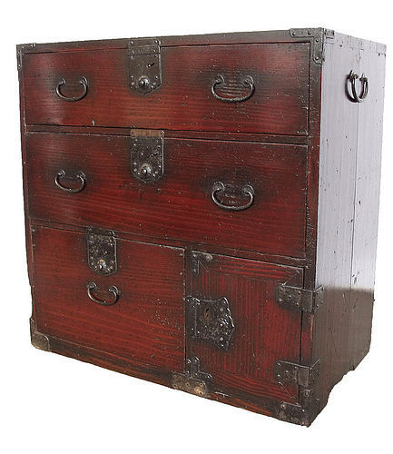 Antique Japanese Lacquer Ko Tansu Small Chest