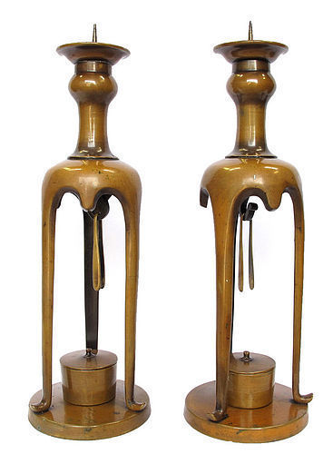 Antique Japanese Bronze Candle Stands A Pair