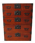 Vintage Japanese Lacquer Isho Tansu Clothing Chest Furniture