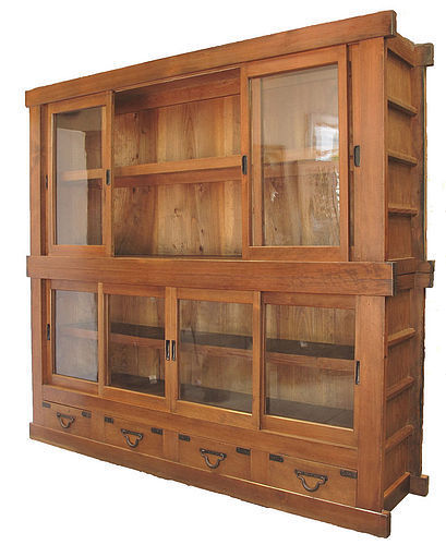 Vintage Japanese Store Glass Display Tansu 2 Section