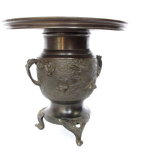 Vintage Japanese Bronze Flower Vase Usubata Waves