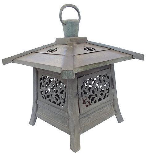 Vintage Japanese Garden Bronze Lantern Toro