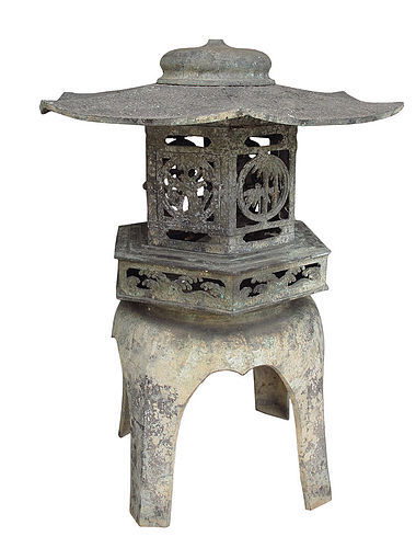 Vintage Japanese Bronze Lantern for Garden