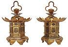Vintage Japanese Buddhist Altar Lantern A Pair