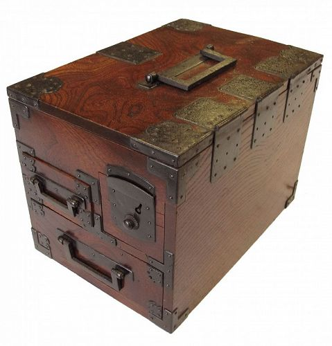 Antique Japanese Merchant Writing Box (Suzuri Bako) with key