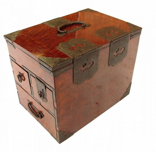 Antique Japanese Merchant Writing Box Suzuri Bako