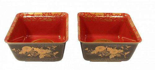 Vintage Japanese Lacquer Haisen Bowls A Pair