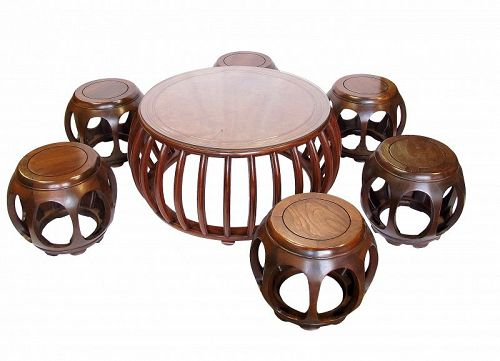 Vintage Round Table with 6 Stools Furniture