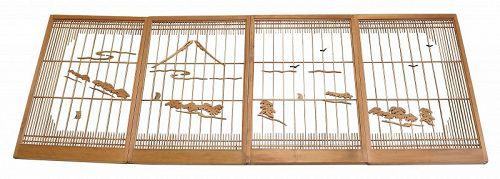 Vintage Japanese Shoin 4 Panels A Set