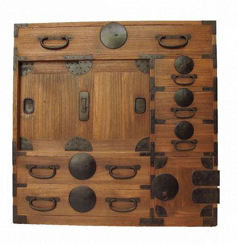 SALE Antique Japanese Choba Tansu Merchant Chest w/ Secret Compartment