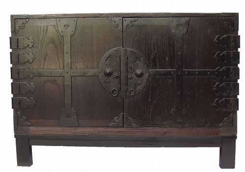 Antique Japanese Kannon Biraki Isho Tansu with Stand