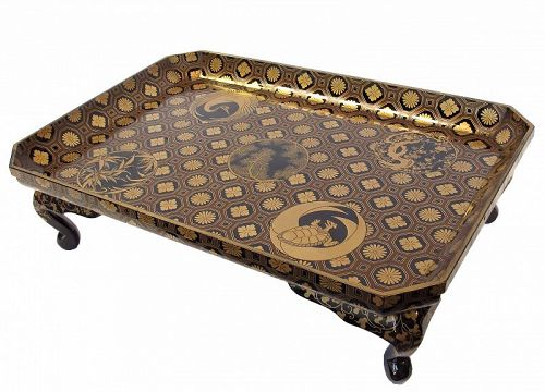 Antique Japanese Lacquer Tray Stand with Makie