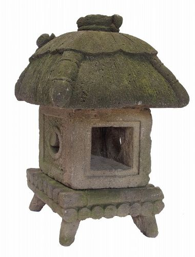 Vintage Japanese Garden Stone House with a Snail