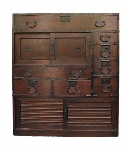 RARE Antique Japanese Choba Tansu Merchant Chest w/Secret Compartment