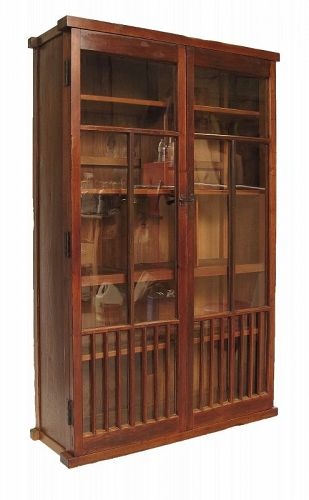 Vintage Japanese Glass Display Tansu for Merchant