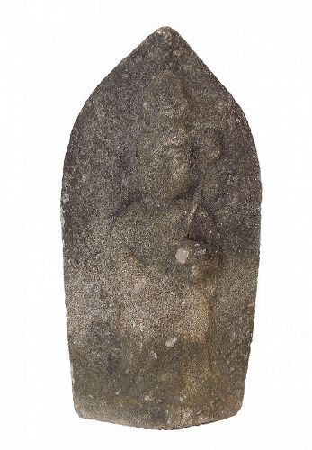 Antique Japanese Stone Buddha Jizo