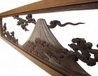 Vintage Japanese Ranma Transom Mt. Fuji in Winter and Summer