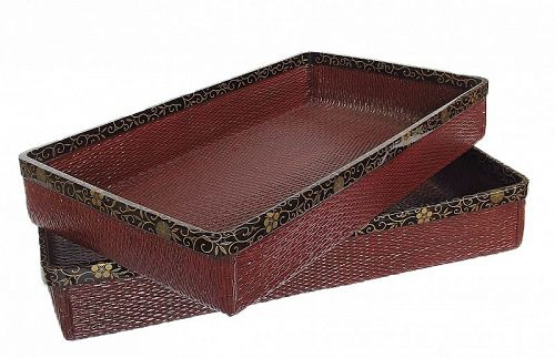 Vintage Japanese lacquer Bamboo Trays for Kimono A Set