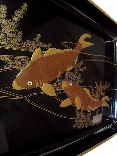 Vintage Japanese Lacquer Tray Bon with Makie Koi Carp