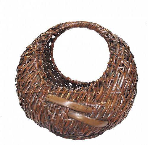 Vintage Japanese Flower Bamboo Basket Hanakago