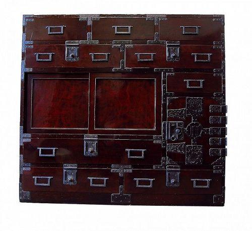 Antique Japanese Choba Tansu Merchant Chest w/Secret Compartment