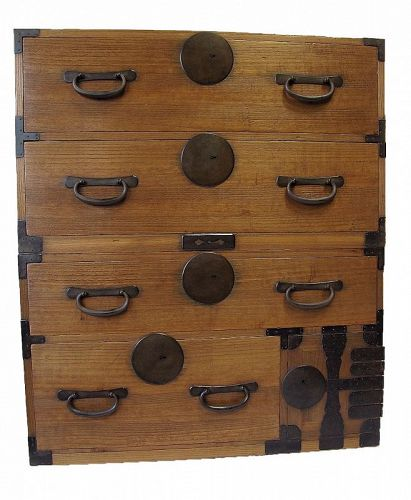 Antique Japanese 2 Section Kasane Isho Tansu w/ Secret Compartment