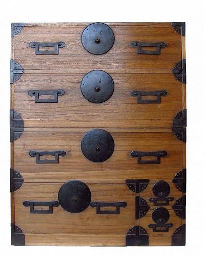 Antique Japanese Kasane Isho Tansu 2 section