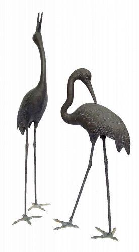 Vintage Japanse Bronze Crane for Garden A Pair