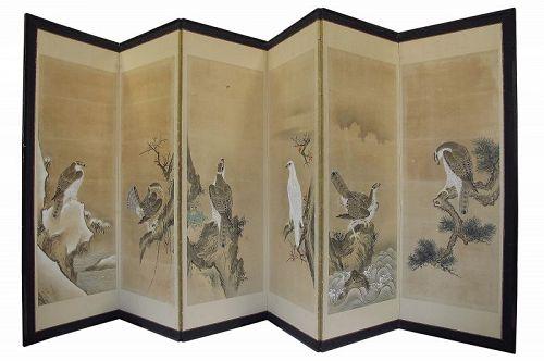 Vintage Japanese Byobu Screen 6 Panel Hawk
