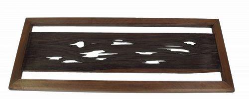 Vintage Japanese Ranma Transom Natural Wood Kaki