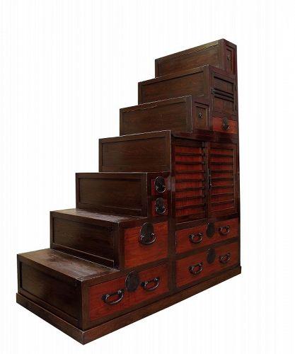 Antique Japanese Kaidan Tansu Step Chest w/ Secret Compartment