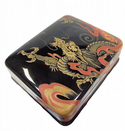 Japanese Lacquer Suzuri Bako Ink Calligraphy Box