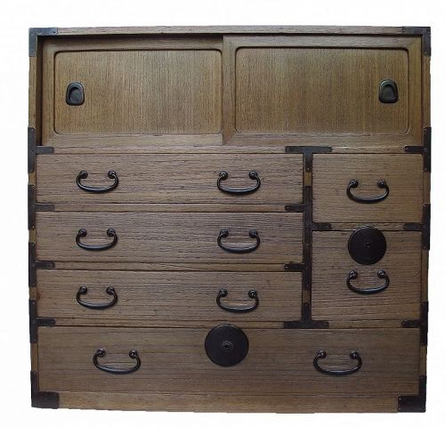 Antique Japanese Ko Tansu Small Chest w/Secret Compartment