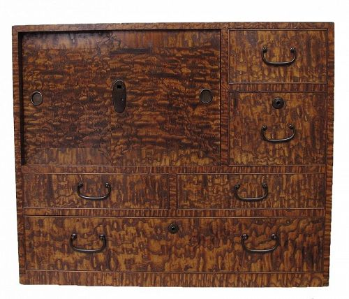 Vintage Japanese Ko Tansu Small Chest Cabinet Ash Wood