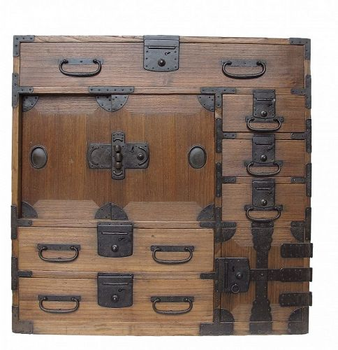 Antique Japanese Choba Tansu Merchant Chest w/ Secret Compartment