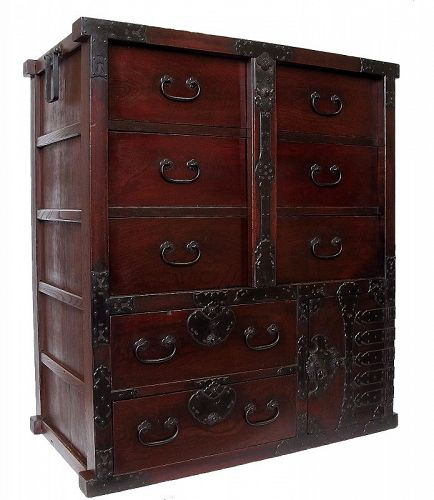 Antique Japanese Lacquer Bo Tansu with Secret Compartment