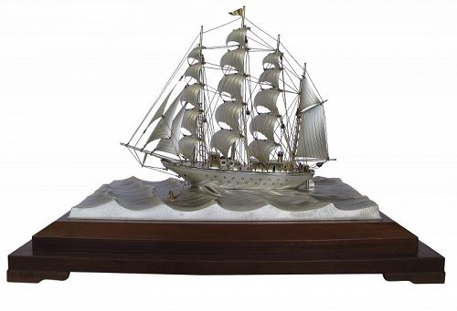 Japanese Silver Sailing Ship Boat in the Glass Case