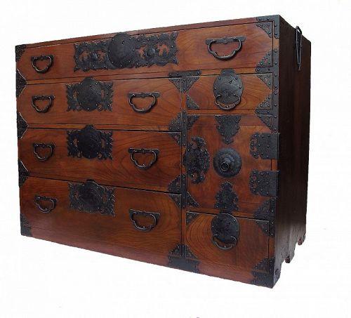 Antique Japanese Sendai Lacquer Tansu Chest w/Secret Compartment