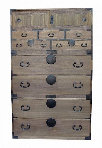 Vintage Japanese Isho Kimono Tansu Clothing Chest