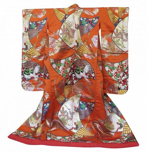 Authentic Japanese Wedding Kimono Uchikake Red Crane
