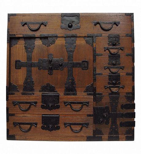 Antique Japanese Choba Tansu Merchant Chest w/ Secret Compartment
