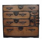 Antique Japanese Ko Tansu Small Chest Drawers