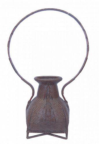 Vintage Large Japanese Bamboo Basket Hanakago
